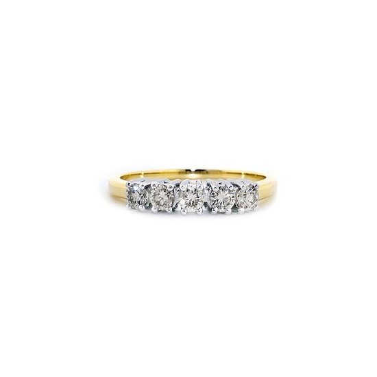 9K Gold Diamond Five Stone Ring 0.50ct
