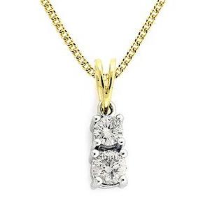 Photo of 9K Gold Diamond Two Stone Claw Set Pendant 0.40CT Jewellery Woman
