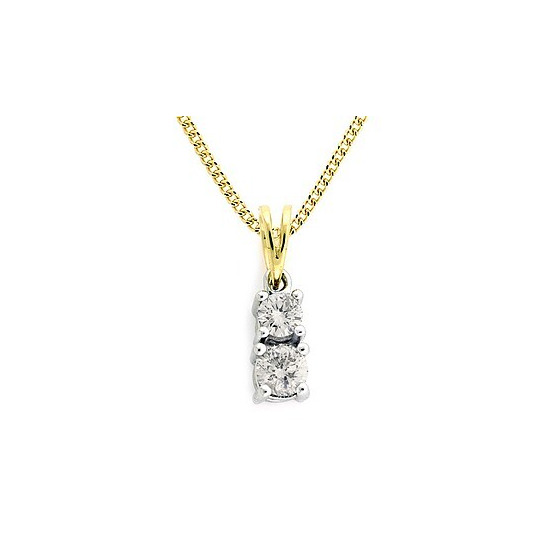 9K Gold Diamond Two Stone Claw Set Pendant 0.40ct