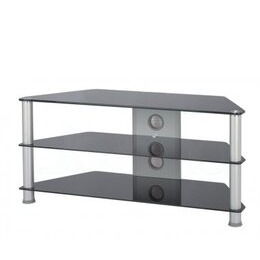 Jual Large Glass Corner TV Stand - Silver Legs and Black Glass Reviews