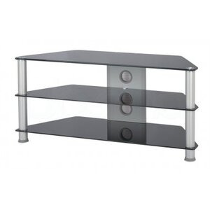 Photo of Jual Large Glass Corner TV Stand - Silver Legs and Black Glass TV Stands and Mount