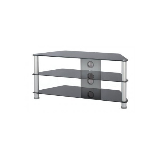 Jual Large Glass Corner TV Stand - Silver Legs and Black Glass