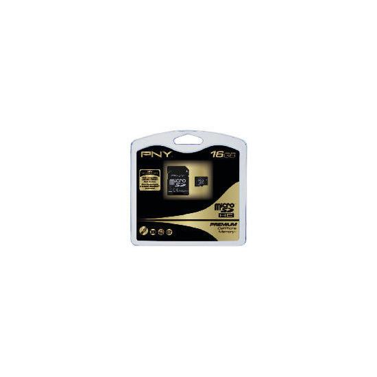 PNY Premium - Flash memory card ( microSDHC to SD adapter included ) - 16 GB - microSDHC