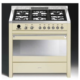 Smeg Opera A1-9 90 cm Dual Fuel Range Cooker - Stainless Steel