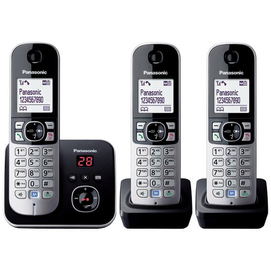 Panasonic KX-TG6823EB Digital Cordless Phone with Answering Machine - Triple Handsets