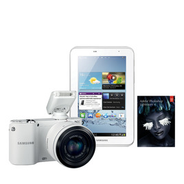 """Samsung NX1100 Smart Compact System Camera with Galaxy 2 7"""" Tablet & Adobe Lightroom 4 - White Reviews"""