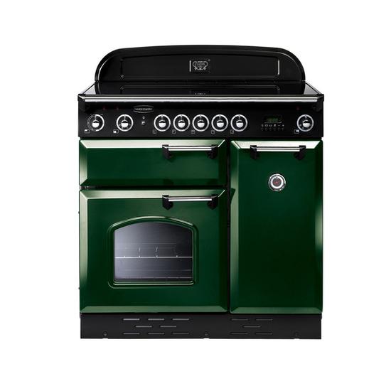 Rangemaster Classic 90 Electric Ceramic Range Cooker - Green & Chrome
