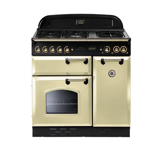 Rangemaster Classic 90 Dual Fuel Range Cooker - Cream & Brass
