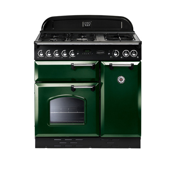 Rangemaster Classic 90 Dual Fuel Range Cooker - Green & Chrome