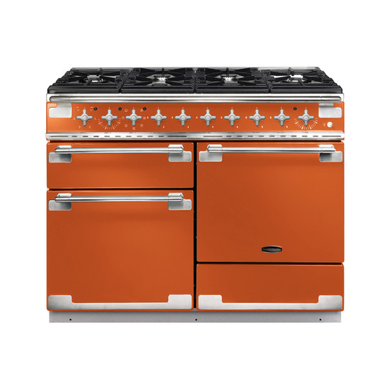 Rangemaster Elise 110 Dual Fuel Range Cooker - Orange & Chrome