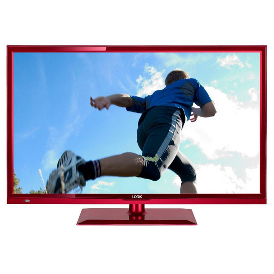 "Logik 24FEDR13 24"" LED TV with Built-in DVD Player - Red"