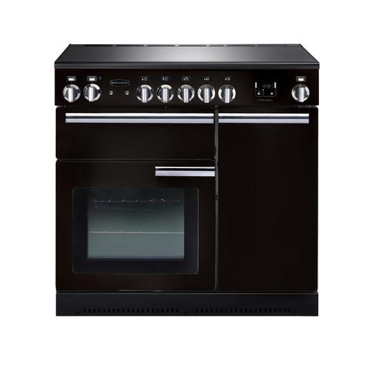 Rangemasterfessional+ 90 Electric Ceramic Range Cooker - Black & Chrome