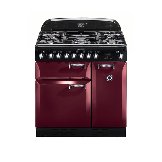 Rangemaster Elan 90 Dual Fuel Range Cooker - Cranberry & Chrome