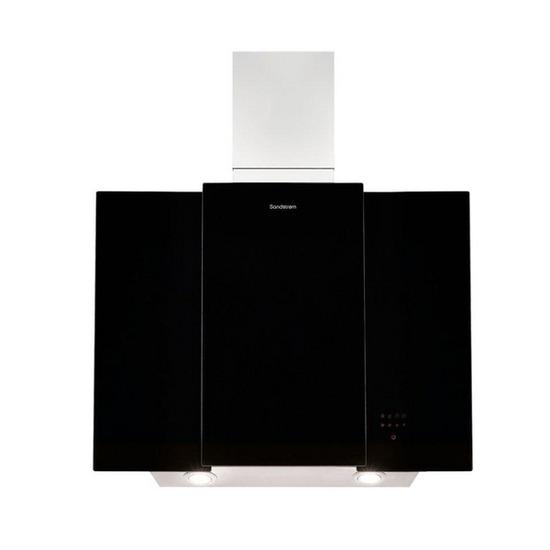 Sandstrom S80GHB13 Chimney Cooker Hood - Stainless Steel & Black Glass