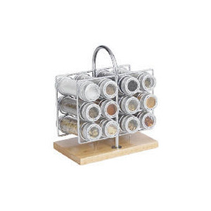 Photo of Chrome and Wood Spice Rack Kitchen Utensil