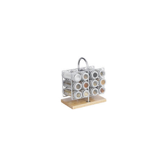 Chrome and Wood Spice Rack