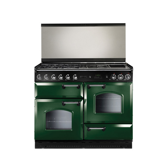 Rangemaster Classic 110 Dual Fuel Range Cooker - Green & Chrome