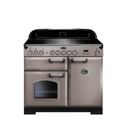 Rangemaster Classic Deluxe 100 Electric Induction Range Cooker - Latte & Chrome