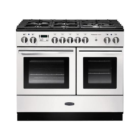 Rangemasterfessional+ FX 100 Dual Fuel Range Cooker - Gloss White & Chrome