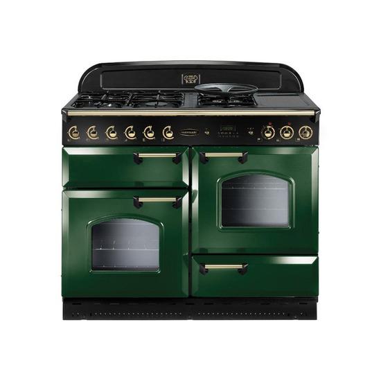 Rangemaster Classic 110 Gas Range Cooker - Green & Brass