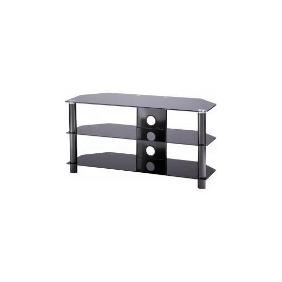 Alphason Essentials - 3 shelf black TV Stand for up to 42