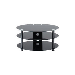"Photo of Alphason T-ESO1000/3-BLK 42"" Universal 3 Tier Oval Stand With Black Glass TV Stands and Mount"