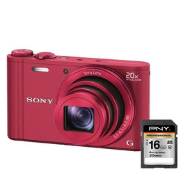 SONY DSCWX300R Advanced Compact Digital Camera - Red with PNY 16 GB Professional Class 10 SDHC Memory Card