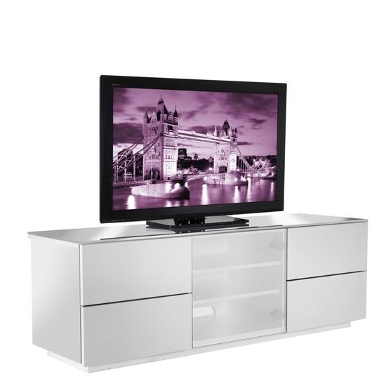 UKCF London Designer High Gloss White TV Cabinet. Up to 65'' screens. Beam thru glass