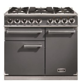 Falcon 10218 - 1000 Deluxe Dual Fuel Range Cooker - Slate - Gloss Pan Stands F1000DXDFSL/NM