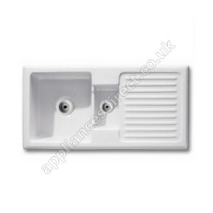 Photo of Sea-Ice Ceramic One and Half Bowl Sink With Drainer Kitchen Sink