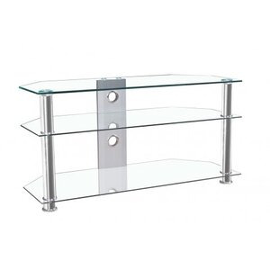 "Photo of MMT JET MMT-CL1000 CLEAR GLASS CORNER TV STAND FOR UP TO 46"" SCREENS TV Stands and Mount"