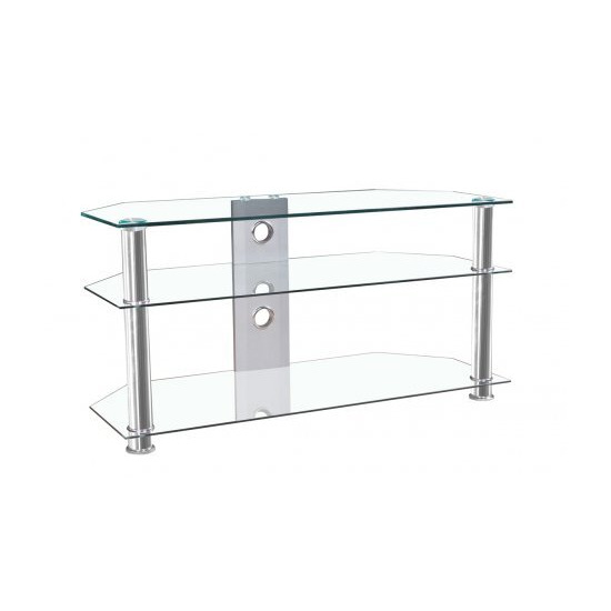"""MMT JET MMT-CL1000 CLEAR GLASS CORNER TV STAND FOR UP TO 46"""" SCREENS"""
