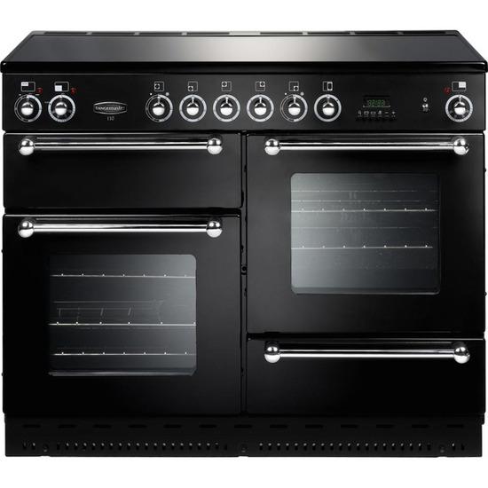 Rangemaster 110 Electric Ceramic Range Cooker - Black & Chrome