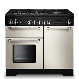 Rangemaster Kitchener 100 Dual Fuel Range Cooker - Ivory & Chrome