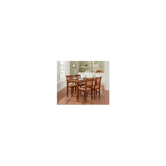 Essen Rubberwood Dining Table & 4 Chairs, Dark