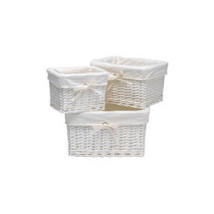 Photo of Tesco Wicker Lined Baskets Set Of 3 White Household Storage