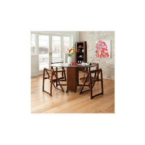 Photo of Ella 4 Seat Rubberwood Butterfly Set, Walnut Furniture