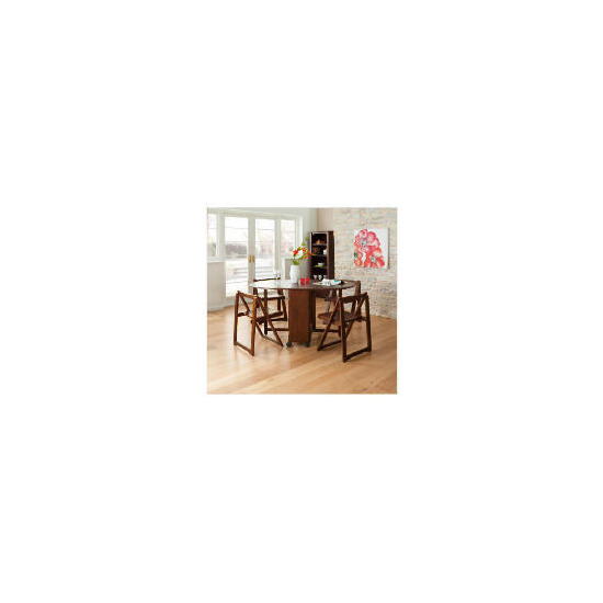 Ella 4 Seat Rubberwood Butterfly Set, Walnut