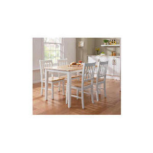 Photo of Essen Rubberwood Dining Table & 4 Chairs, White & Natural Furniture