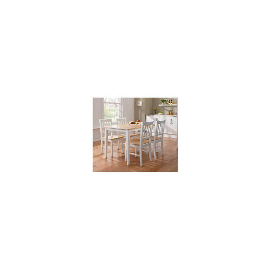 Essen Rubberwood Dining Table & 4 Chairs, White & Natural