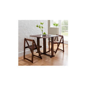 Photo of Ella 2 Seat Rubberwood Butterfly Set, Walnut Furniture