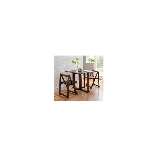 Ella 2 Seat Rubberwood Butterfly Set, Walnut