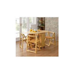 Photo of Ella 4 Seat Rubberwood Butterfly Set, Natural Furniture