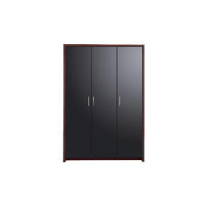 Photo of Manhattan Triple Wardrobe, Walnut Black Gloss Furniture