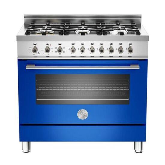 Bertazzoni Professional 90 Dual Fuel Range Cooker - Blue & Stainless Steel