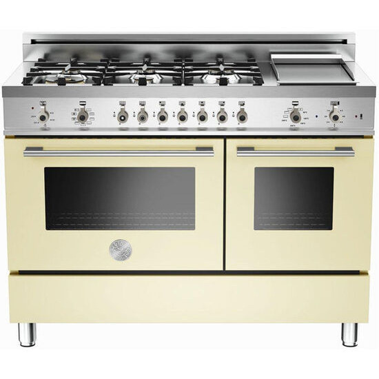 Rangemaster Professional 122 Dual Fuel Range Cooker - Cream & Stainless Steel