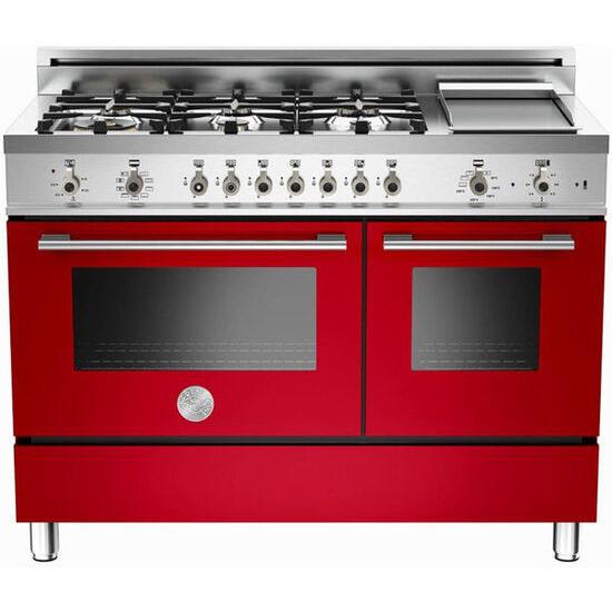 Rangemaster Professional 122 Dual Fuel Range Cooker - Red & Stainless Steel
