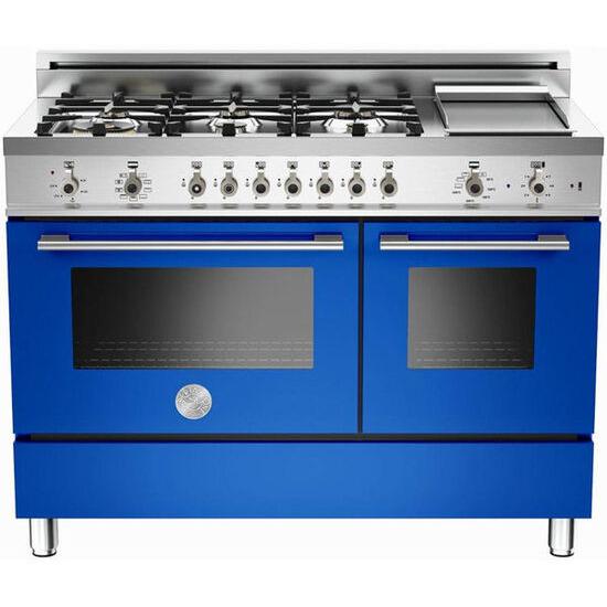 Rangemaster Professional 122 Dual Fuel Range Cooker - Blue & Stainless Steel