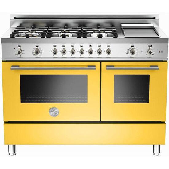 Rangemaster Professional 122 Dual Fuel Range Cooker - Yellow & Stainless Steel