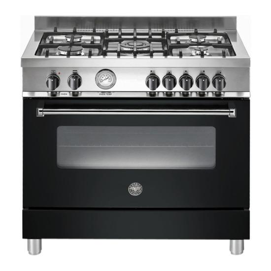 Bertazzoni Master 90 Dual Fuel Range Cooker - Matte Black & Stainless Steel